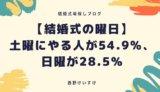 【結婚式の曜日】土曜にやる人が54.9%、日曜が28.5%